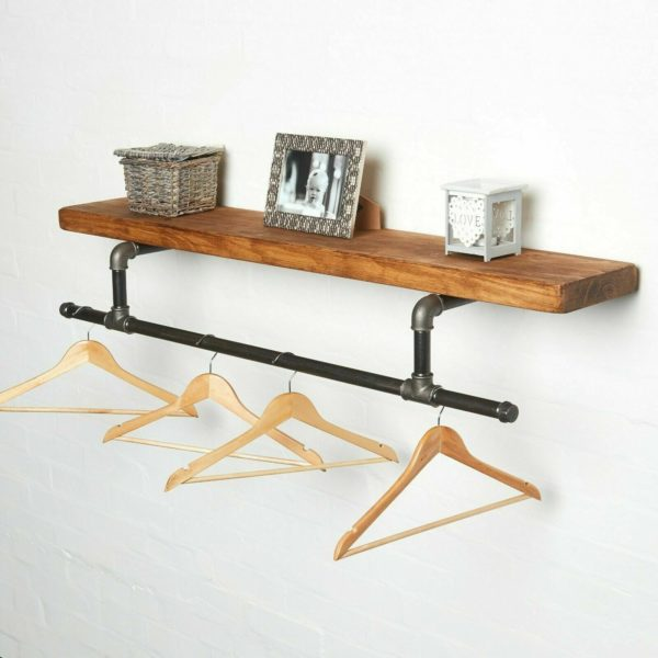 Clothes -Rail-with-Solid-wood-Shelf-with-hangers
