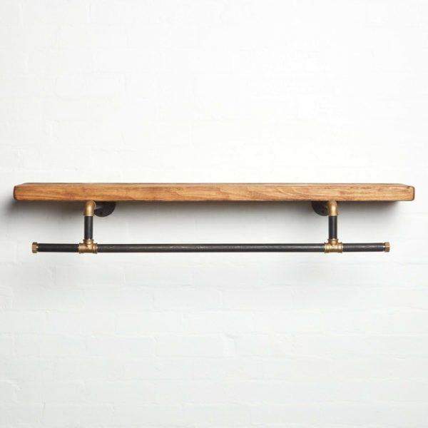 Custom-Size-Pipe-Clothing-Rail-Brass-with-shelf