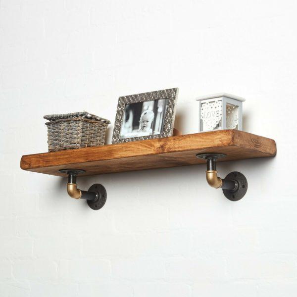 RECLAIMED-Timber-Shelf-Black-Brass-Elbow-Brackets-with-photoframe