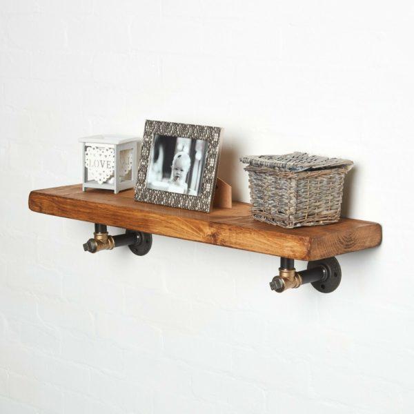 RECLAIMED-Timber-Shelf-With-Black-Brass-T-Nut-Brackets-with-photoframe