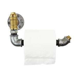Industrial Silver & Brass Toilet Roll Holders
